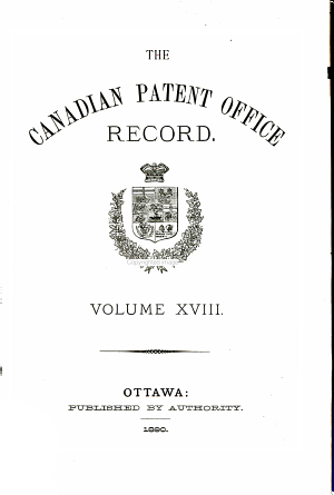 Canadian Magazine of Science and the Industrial Arts  Patent Office Record