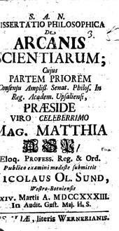 Diss. philos. de arcanis scientiarum