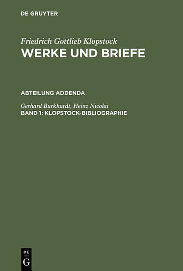 Klopstock Bibliographie PDF