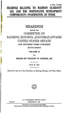 Hearings Relating to Madison Guaranty S L and the Whitewater Development Corporation  Washington  DC Phase PDF