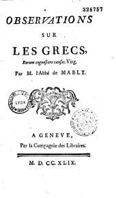 Observations sur les Grecs... par l'Abbé de Mably...