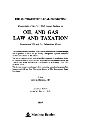 Proceedings of the     Annual Institute on Oil and Gas Law and Taxation PDF