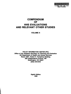 Compendium of HHS Evaluations and Relevant Other Studies PDF