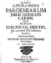 Satura prima paroemiarum iuris Germanicarum