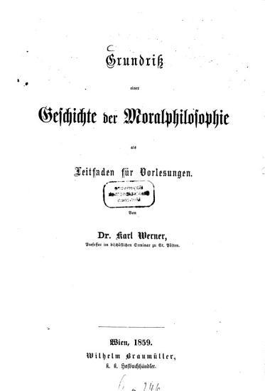 Grundriss einer Geschichte der Moralphilosophie PDF