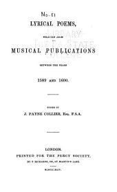 Lyrical Poems: Selected from Musical Publications Between the Years 1589 and 1600, Issues 51-58