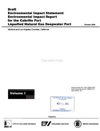 Draft Environmental Impact Statement environmental Impact Report for the Cabrillo Port Liquefied Natural Gas Deepwater Port  Ventura and Los Angeles Counties  California PDF
