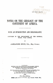 Notes on the Geology of the Continent of Africa