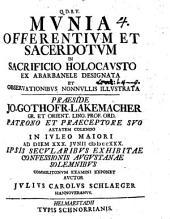 Munia offerentium et sacerdotum in sacrificio holocausto ex Abarbanele designata