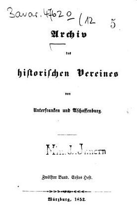 Archiv des Historischen Vereines von Unterfranken und Aschaffenburg PDF
