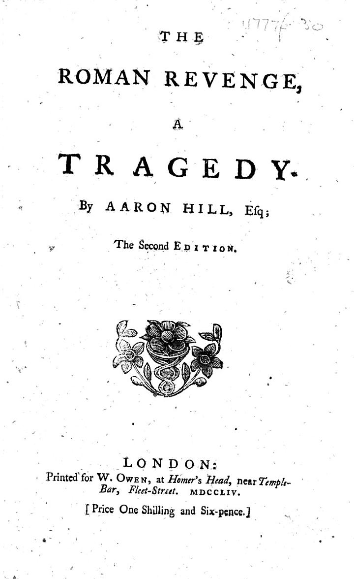 The Roman Revenge, a Tragedy [in Five Acts and in Verse.] The Second Edition