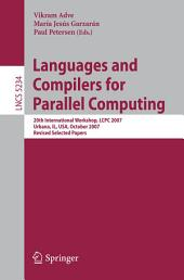 Languages and Compilers for Parallel Computing: 20th International Workshop, LCPC 2007, Urbana, IL, USA, October 11-13, 2007, Revised Selected Papers