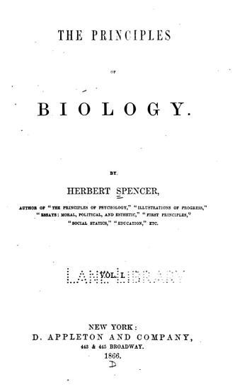 The Principles of biology v 1  1866 PDF