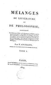 Mélanges de littérature et de philosophie ...