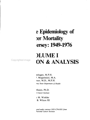 Descriptive Epidemiology of Cancer Mortality in New Jersey  1949 1976  Discussion   analysis PDF