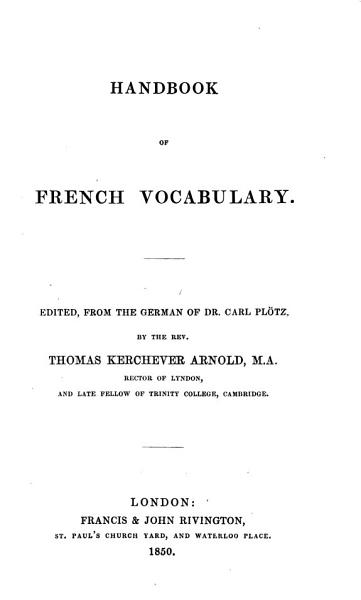 Download Handbook of French vocabulary  ed  by T K  Arnold Book