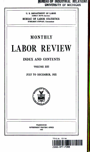 Monthly Labor Review  July to December 1921 PDF