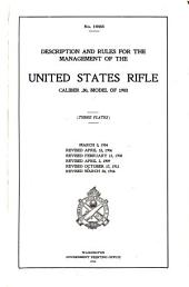 Description and Rules for the Management of the United States Rifle, Caliber .30, Model of 1903