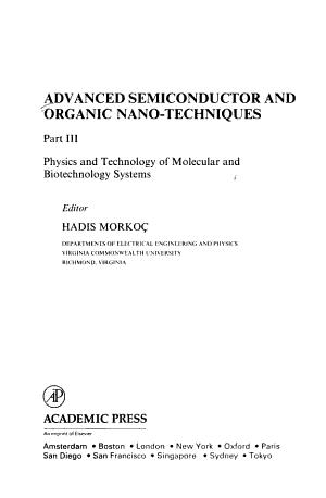 Advanced Semiconductor and Organic Nano techniques PDF