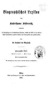 Biographisches Lexicon des Kaiserthums Österreich, enthaltend die Lebensskizzen der denkwürdigen Personen, welche 1750 bis 1850 im Kaiserstaate und in seinen Kronländern ... gelebt haben: Band 38