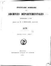 Inventaire sommaire des Archives départementales antérieures à 1790: Ain. Archives civiles, Série C