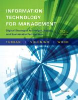 Information Technology for Management  Digital Strategies for Insight  Action  and Sustainable Performance  10th Edition PDF