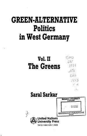 Green-alternative Politics in West Germany