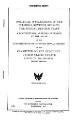 Political Intelligence in the Internal Revenue Service PDF
