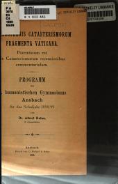 Eratosthenes Catasterismorum fragmenta Vaticana: Praemissum est de Catasterismorum recensionibus commentariolum ...