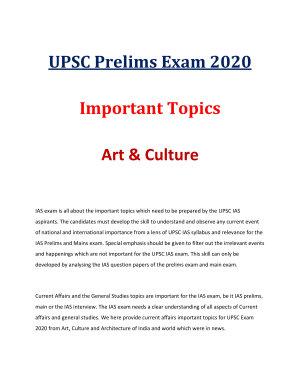 UPSC Prelims 2020 Current Affairs  Art and Culture