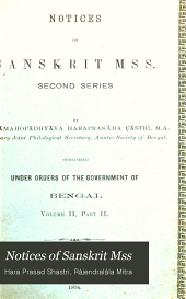 Notices of Sanskrit Mss