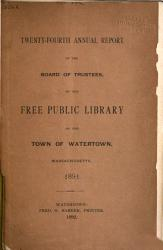 Annual Report of the Free Public Library of the Town of Watertown for the Year Ending     PDF