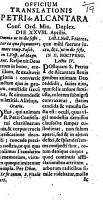 Officium translations S  Petri de Alcantara     Duplex  Die XXVIII  Aprilis PDF