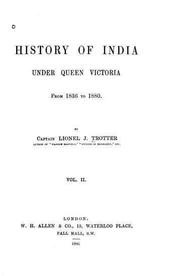 History of India Under Queen Victoria from 1836 to 1880 PDF