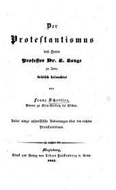 Der Protestantismus des Herrn Professor Dr. L. Lange zu Jena, kritisch beleuchtet