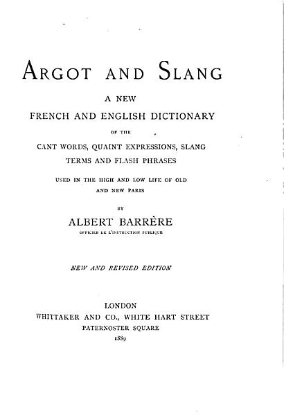 Argot And Slang