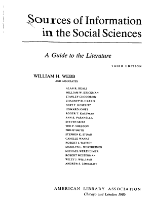 Sources of Information in the Social Sciences PDF
