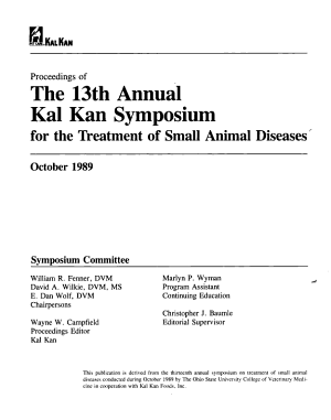 Proceedings of the 13th Annual Kal Kan Symposium for the Treatment of Small Animal Diseases