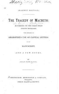 The Tragedy of Macbeth Book