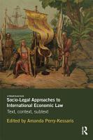 Socio Legal Approaches to International Economic Law PDF