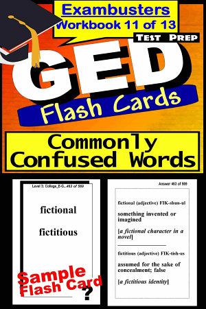 GED Test Prep Commonly Confused Words Review  Exambusters Flash Cards  Workbook 11 of 13