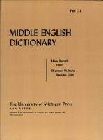 Middle English Dictionary PDF