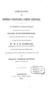 Aneurysma der arteria coronaria cordis sinistra: Volume 1