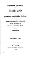 ALLGEMEINE ZEITSCHRIFT FUR PSYCHIATRIE UND PSYCHISCH GERICHTLICHE MEDICIN  HERANSGEGEBEN VON DEUTSCHLANDS IRRENARZTEN PDF