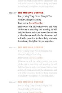 The Missing Course Book