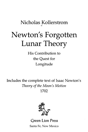 Newton s Forgotten Lunar Theory
