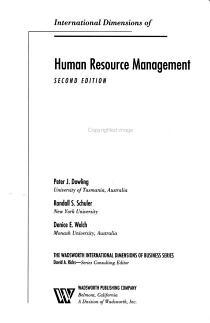 International Dimensions of Human Resource Management PDF