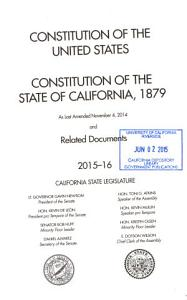 Constitution of the United States  Constitution of the State of California  1879  as Last Amended Nov  5  1968  and Related Documents Book