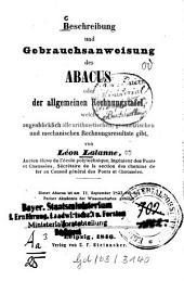 Beschreibung und Gebrauchs-Anweisung des Abacus: oder die allgemeine Rechnungstafel, welche augenblicklich alle arithmetischen, geometrischen und mechanischen Berechnungsresultate gibt
