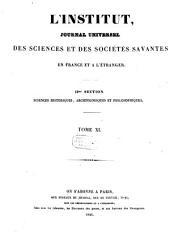 L'institut. Section 1: Sciences mathématiques, physiques et naturelles, Volumes 11-13